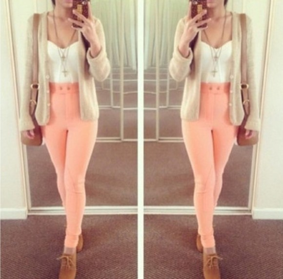 shoes pink bag jeans top cardigan necklace pants peach high wasted cute legs sweater shirt blouse coral jeggings high waisted