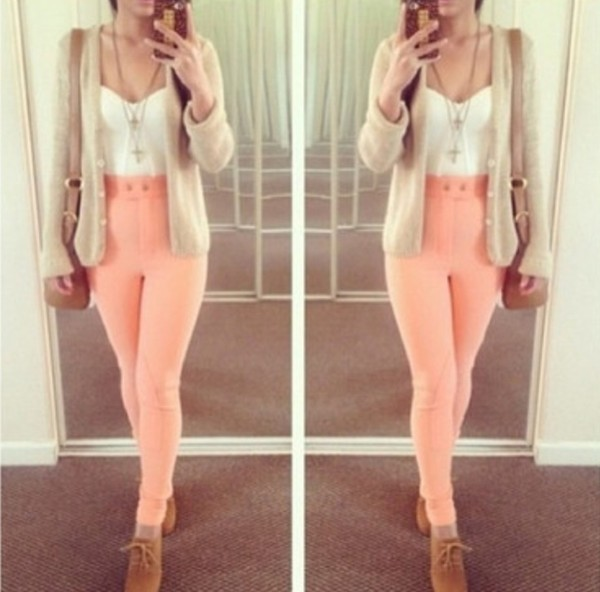 pants peach high wasted cute legs sweater shirt bag blouse shoes jeans coral jeggings high waisted pink cardigan top necklace