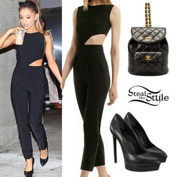 jumpsuit ariana grande forever 21 black black pumps black jumpsuit bag