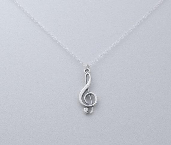 Treble clef necklace musical necklace silver by jimdavisdesigns