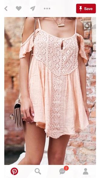 dress peach dress off the shoulder summer dress