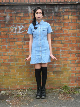dress denim dress knee high socks boots