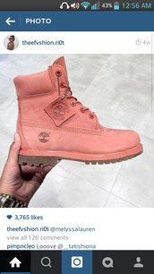 shoes,timberland boots shoes,pink,cute,boots