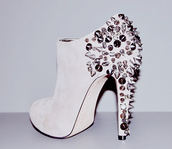 shoes,leather,white,studs,white leather,high heels