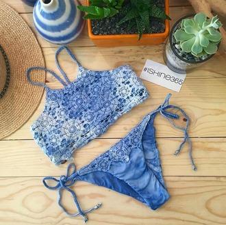 swimwear bikini bikini top bikini bottoms tie dye tie dye swimwear crop tops tie side swimsuit ishine365 high neck bikini high neck lace bikini