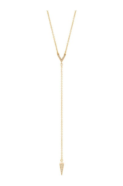 Rebecca Minkoff Crystal Cone Y Necklace in gold / metallic