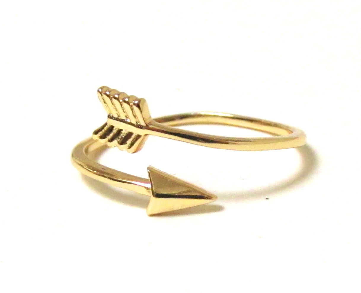 Arrow Ring - 14 Kt Gold Over Sterling Silver Arrow Ring In Size 5 on Luulla