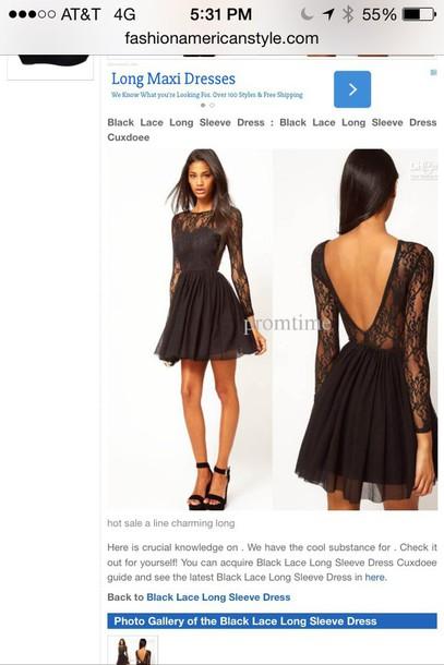 dress black lace long sleeve dress