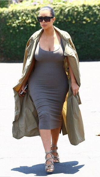 dress bodycon dress grey kim kardashian sandals midi dress coat