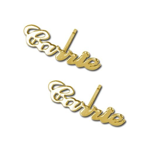 Gold Name Studs