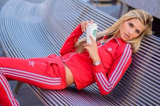 jumpsuit adidas red red sweater 3 stripes jacket pants style fashion clothes tracksuit tracksuit bottoms sportswear zipper zip jumper