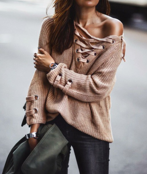 shirt lace up beige sweater knit