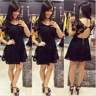 backless dress black backless dress sexy dress women black dress lace dress mini dress party dress party outfits dress dress up party dress up