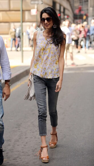 top flowers floral amal clooney sandals wedges purse shoes