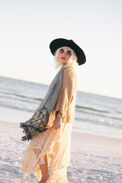 styles by hannah riles,blogger,sunglasses,t-shirt,jewels,scarf,felt hat,fall outfits,cardigan,boho,round sunglasses,dress