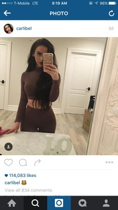 top,cotton,crop tops,brown,matching set,two-piece