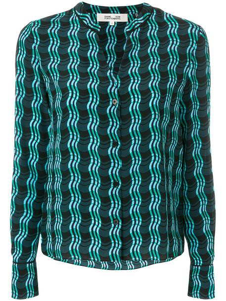 Dvf Diane Von Furstenberg shirt women print silk green top