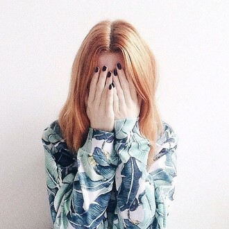 sweater printed sweater winter sweater floral sweater print floral fusion girl blonde hair banana leaf leaves leaves printed style nails