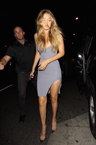 dress blue dress gigi hadid gigi hadid style celebrity style model off-duty victoria's secret model victoria's secret