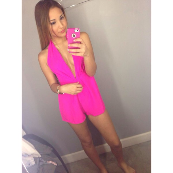 romper melissa sandoval black pink clothes cute sexy pink romper chiffon