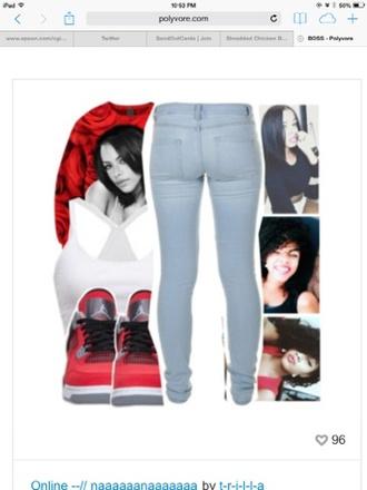 shirt singer red aaliyah jeans tank top