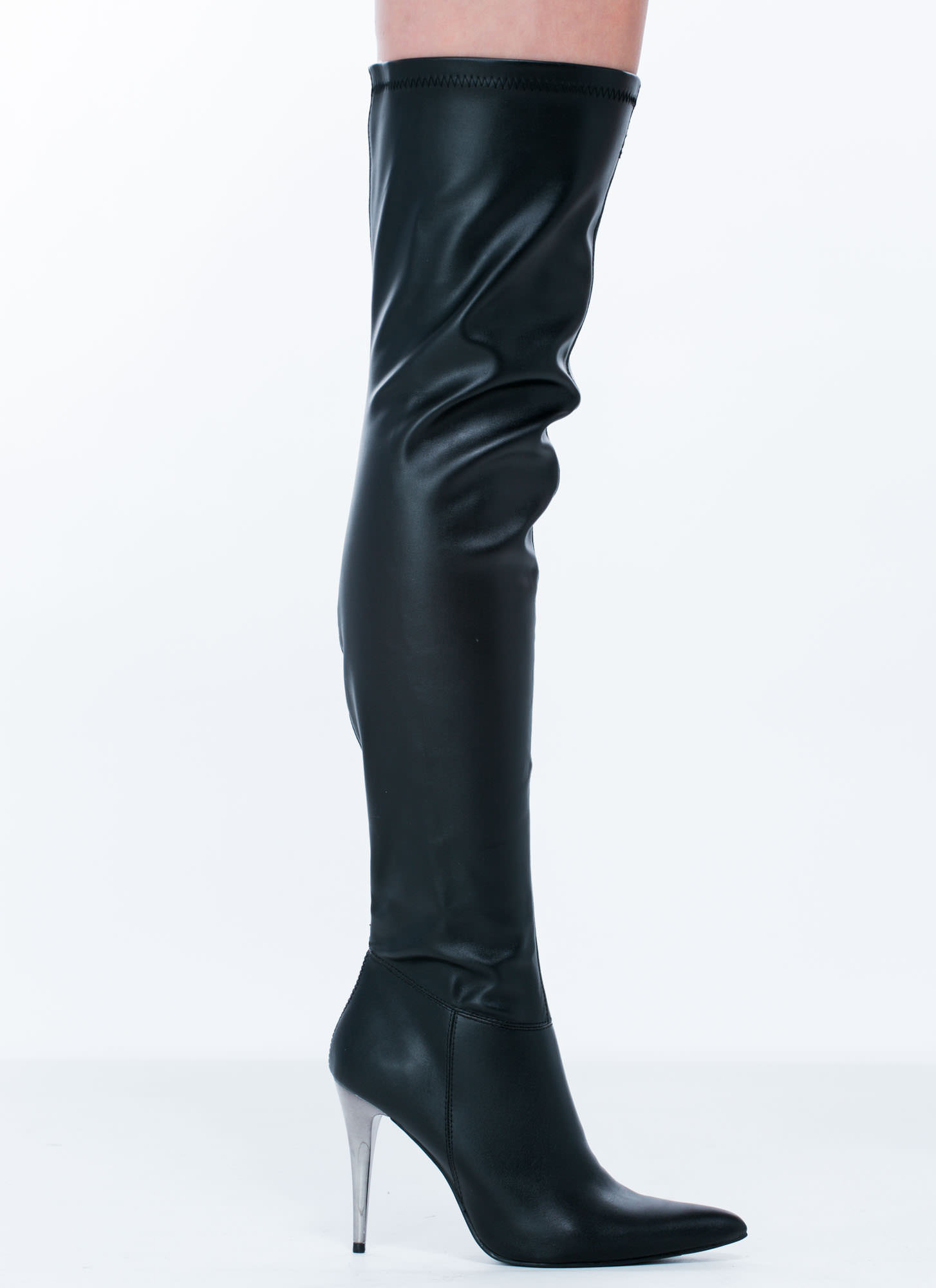 tipped by metal thigh high boots cognac black gojane
