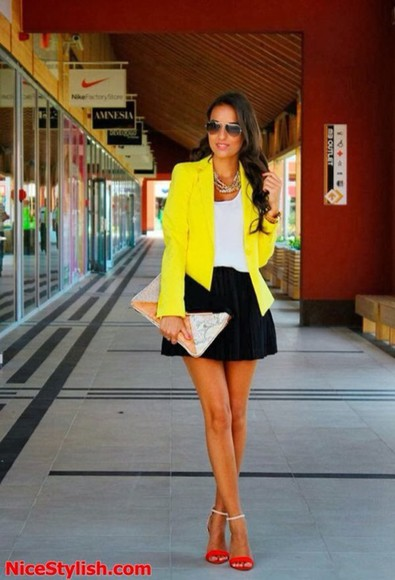 black skirt blouse black cardigan neon yellow neon white blouse red heels style fashion
