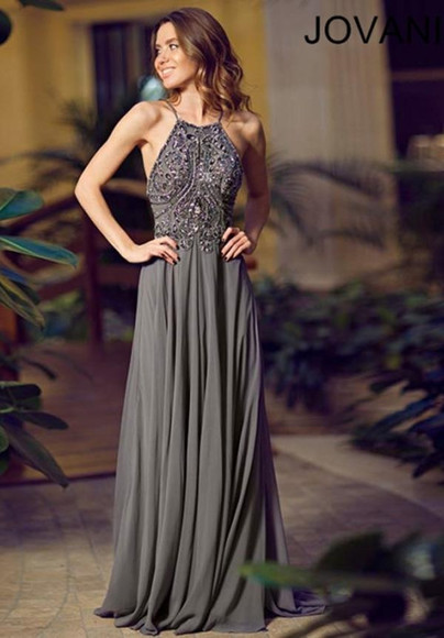 grey dress long dress beaded dress formal dress jovan prom dress backless dress 2014 dress new dress 2014 strap dress formal dress prom