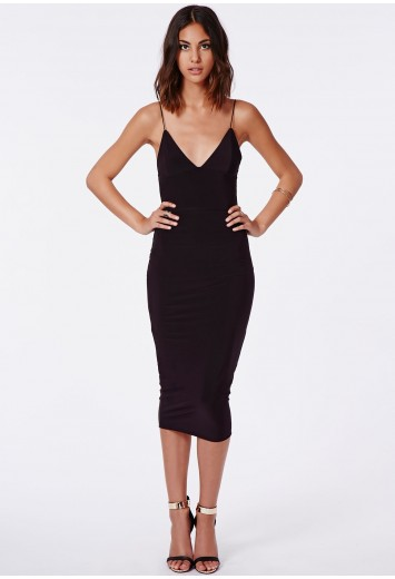 Missguided - Elodia Slinky Strappy Midi Dress In Black