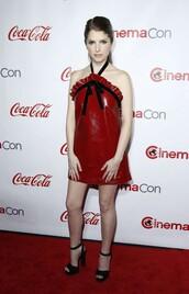 dress,red dress,leather,sandals,anna kendrick,platform sandals,mini dress