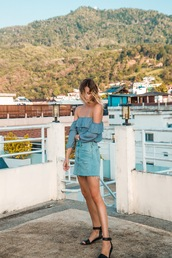 jewels,styling my life,blogger,top,skirt,shoes,off the shoulder top,blue top,denim skirt,sandals