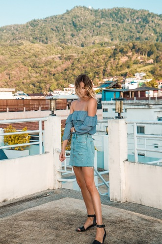 jewels styling my life blogger top skirt shoes off the shoulder top blue top denim skirt sandals