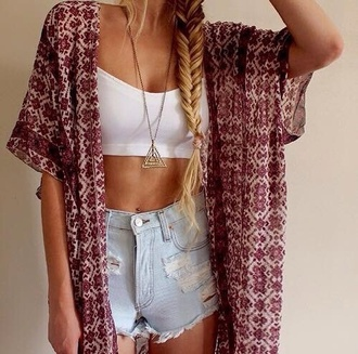 cardigan cute kimono pattern girly trendy outfit tumblr outfit shirt