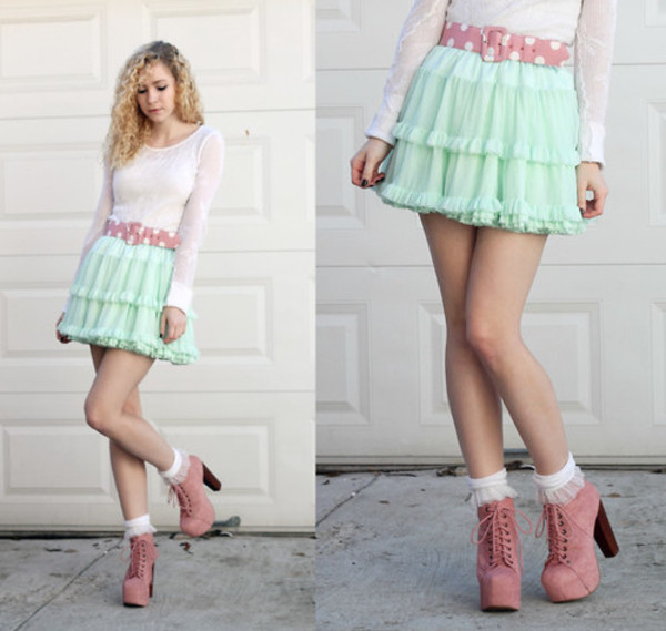 shoes boots pastel pink skirt shirt