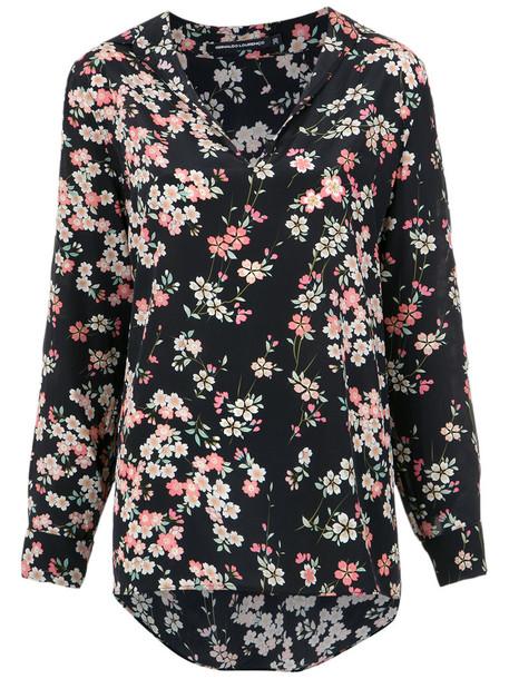 shirt floral shirt women floral black silk top