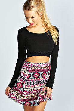 Lily Foil Printed Aztec Skater Skirt at boohoo.com