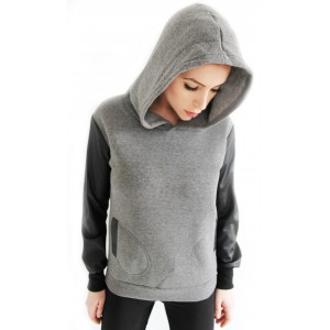 Grey hoodie with leather sleeves  - SABISA SHOP