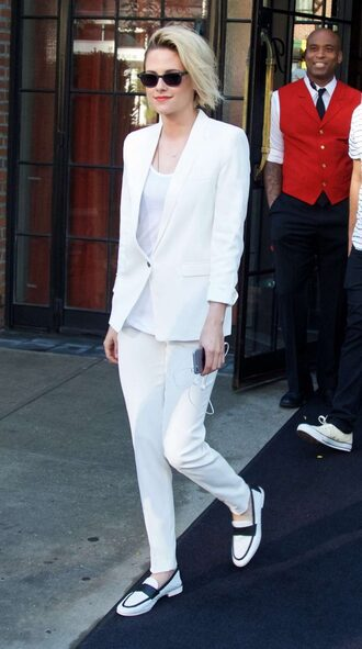 pants suit blazer kristen stewart flats sunglasses top white jacket white pants