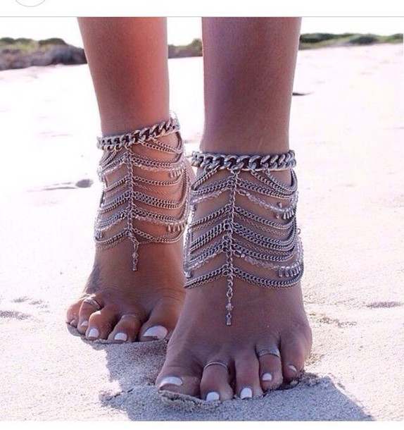 jewels anklet boho hipster summer silver feet jewelry summer accessories