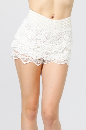 Scalloped Crochet Shorts @ Cicihot Pants Online Store: sexy pants,sexy club wear,women's leather pants, hot pants,tight pants,sweat pants,white pants,black pants,baggy pants