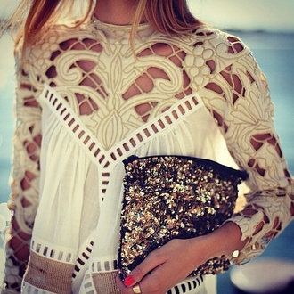 shirt blouse white blouse cream shirt open back long sleeves high neck clothes woman shirt t-shirt fashion cream top white top dress white holes gold sequins