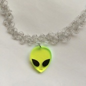 jewels,choker necklace,alien,glitter,green,neon,grunge,tumblr,rad