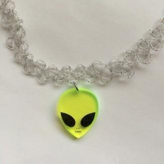 jewels alien glitter choker necklace green neon grunge tumblr rad