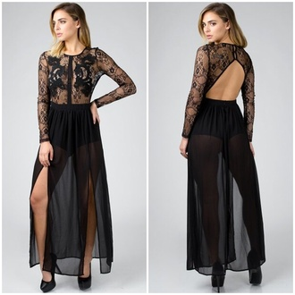 dress lace maxi dress all lace sexy sexy dress open back chiffon lace detail long sleeves long sleeve maxi dress slit dress slit skirt fashion instagram get this look angl button up pumps elegant elegant dress new arrival