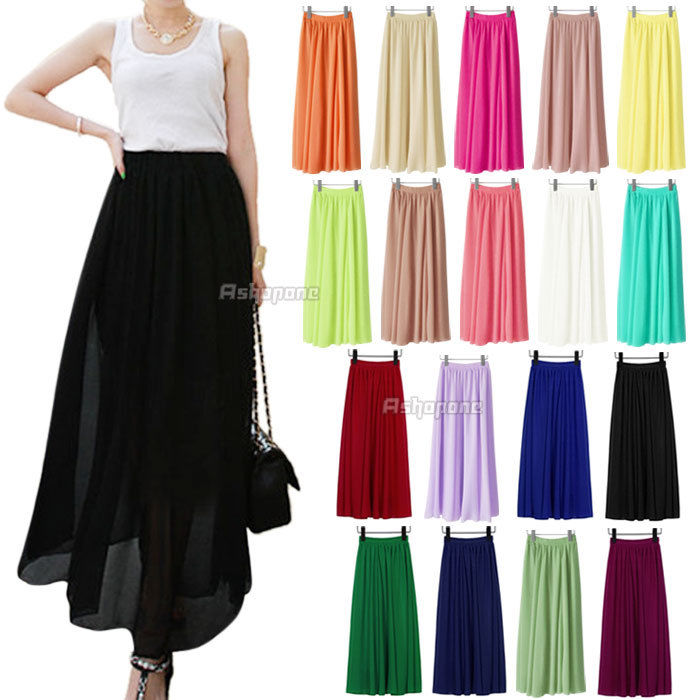 New Women Chiffon Pleated Elastic Waist Double Layer Long Maxi Full Length Skirt | eBay