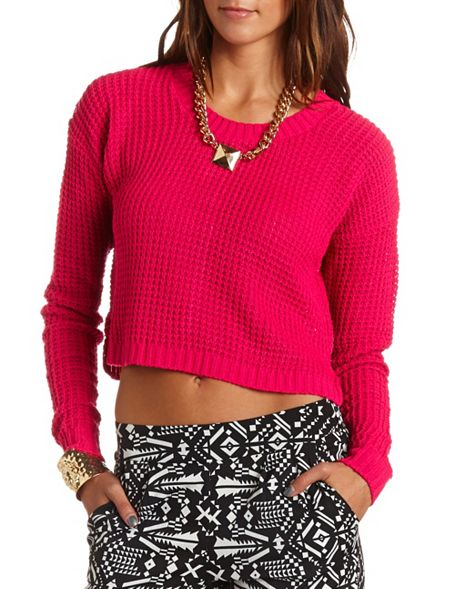 Cropped easy pullover sweater: charlotte russe