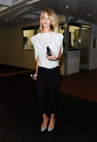 blouse top pants rosie huntington-whiteley