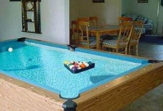 swimwear pool pool table clear blue turquoise water color colorful wood fun lifestyle