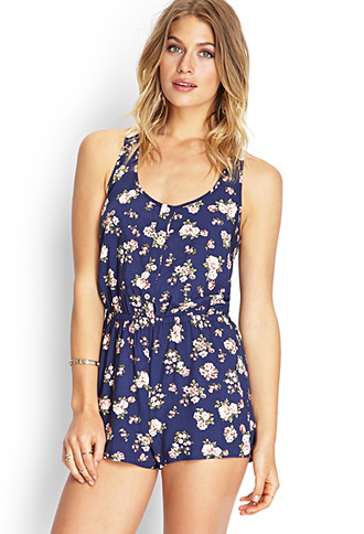 Buttoned Floral Crochet Romper | FOREVER21 - 2000089638
