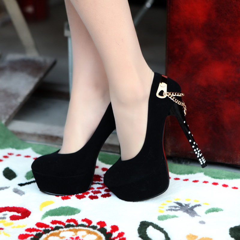 Factory Sell Sexy Ultra High Heels Platform Chains Black Party Shoes 2013 Black Women Pumps-inPumps from Shoes on Aliexpress.com